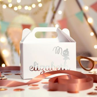 Large white gable gift box with elizabeth written on the side, standing on top of the h is a small cartoon ballerina playing with ribbon, this is printed in metallic rose gold