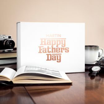Personalised Vinyl Father's Day Gift Box in Rose Gold