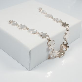 Silver Jigsaw Necklace