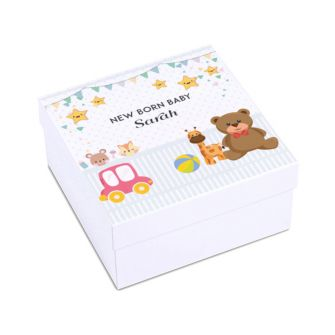 White Nursery Print Square Flatpack Baby Gift Box