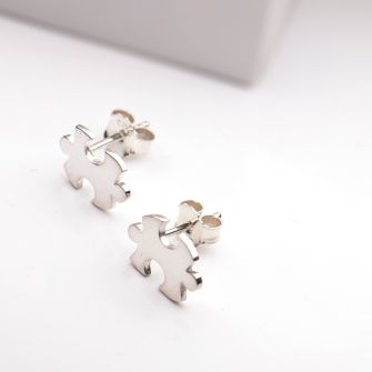 Silver Jigsaw Earrings