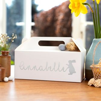 Personalised Easter Bunny White Large Gable Box
