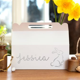 Personalised Easter Rabbit Outline White Large Gable Box