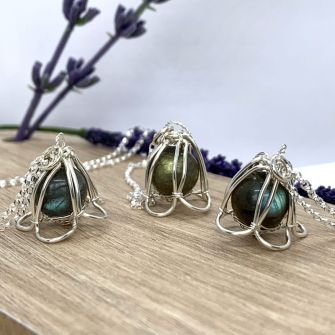 Lily of the Valley Sterling Silver and Labradorite Pendant Necklace