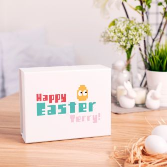 Personalised Happy Easter Gamer White Magnetic Gift Box