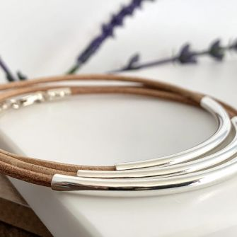 Natural Tan Real Leather Stacking Bracelets