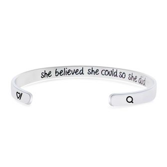 She Believed She Could So She Did Stainless Steel Cuff Bangle