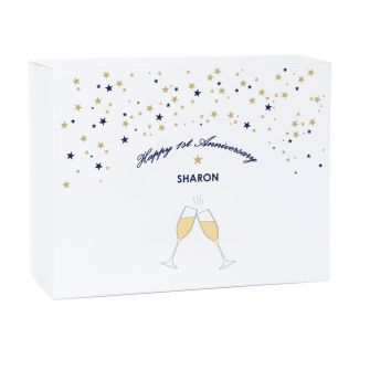 Personalised Champagne Happy 1st Anniversary White Magnetic Gift Box