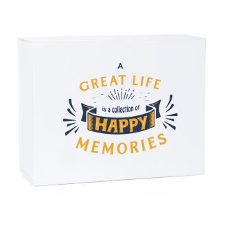 A Great Life is a Collection of Happy Memories White Magnetic Gift Box