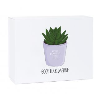 Personalised Good Luck We're Rooting for You White Magnetic Gift Box
