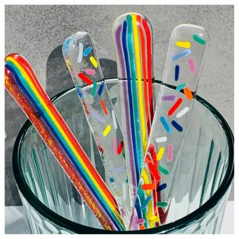 Rainbow drink mixer set of two - stripes