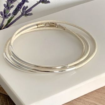 White Real Leather Stacking Bracelet