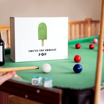 Coolest Pop Father's Day Gift Box on a Pool table