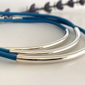 Blue Real Leather Stacking Bracelet