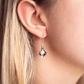 Medium Silver Arum Lily Drop Earrings with Pearls