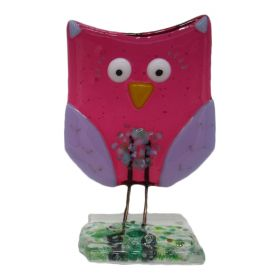 Fused Glass Pink Owl