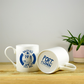 Salty Sea Dog Bone China Hand Decorated Mug