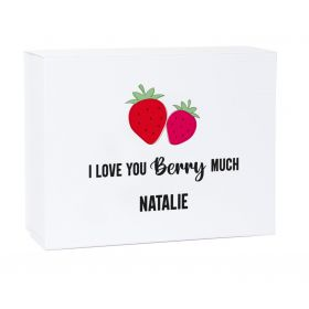 Personalised I Love You Berry Much White Magnetic Gift Box